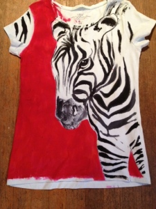 Here's a custom-painted zebra shirt I recently did for a customer