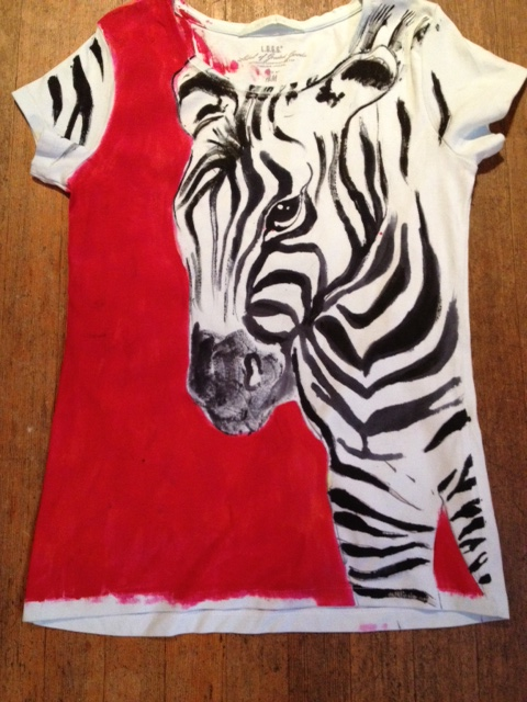 Here's a custom-painted zebra shirt I recently did for a customers