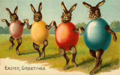 Antique Easter Bunnies card