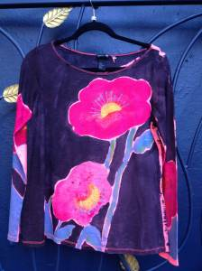 Handpainted.flowers.shirt.july15.2013