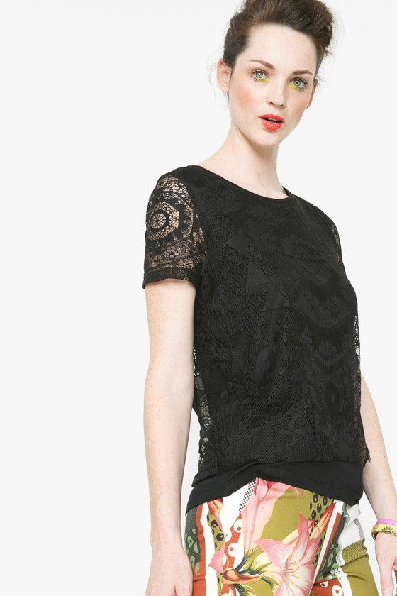 Desigual ABRICA black T-shirt with lace designed by Christian Lacroix. $115.95. Spring-Summer 2016.