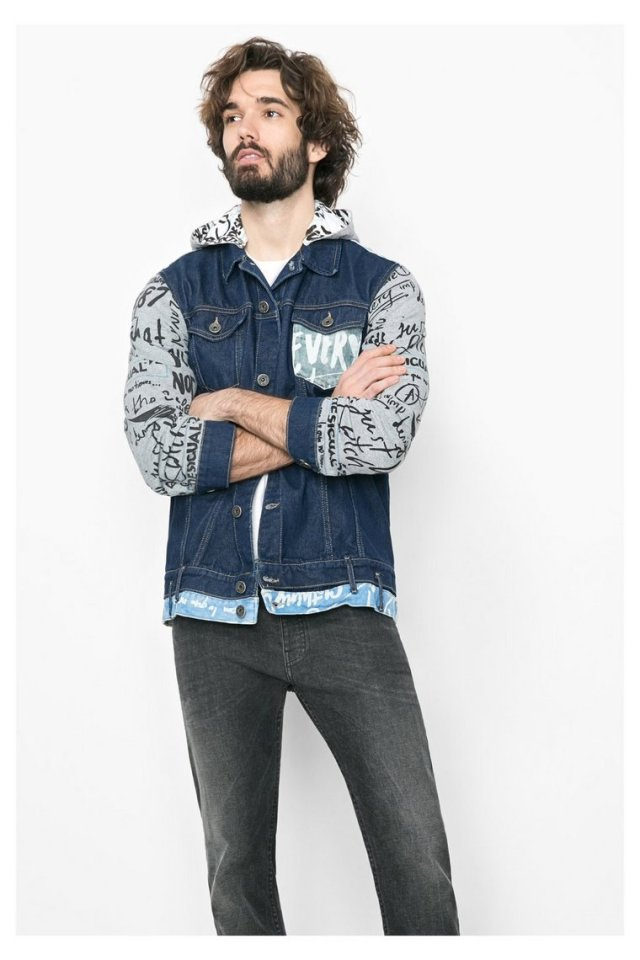 Desigual CAZADORA denim jacket with cotton sleeves and hoodie. $169.95. Spring-Summer 2016,