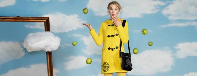 Desigual YELLOW EXPLOSION coat by Christian Lacroix. Alpaca wool blend. $365.95. Fall-Winter 2015.