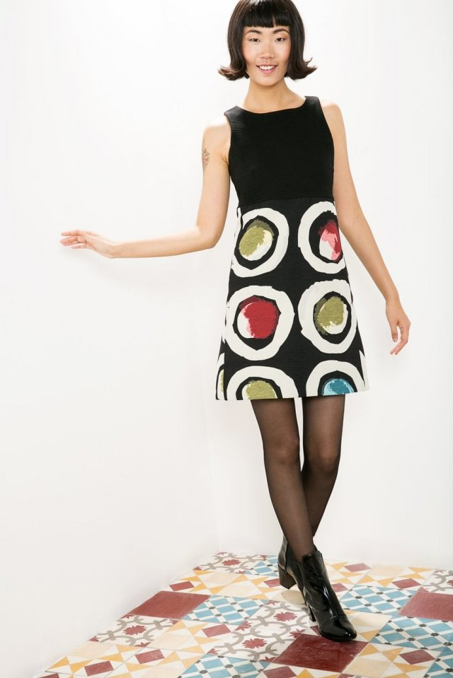 Desigual PETIT CAPRICE pinafore dress. Sleeveless with water-colour-style circles. $179.95. Fall-Winter 2015.