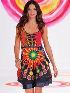 Desigual.woman.Adriana.Lima.dress.SS2014