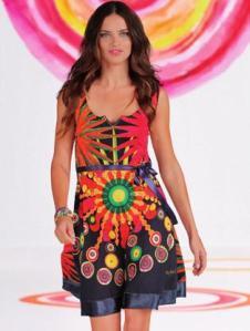 Desigual.woman.Adriana.Lima.dress.SS2014