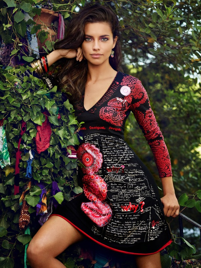 Desigual.Adriana.Lima.wearing.TIJAT.dress.Fall-Winter.2014