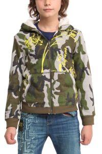 Desigual JUPITER hoodie sweatshirt for kids with camouflage pattern.