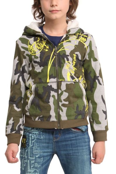 Desigual JUPITER hoodie sweatshirt for kids with camouglage pattern.