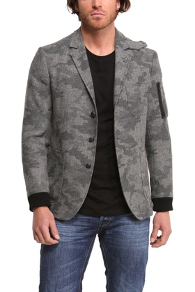 Desigual DAVID blazer with knit cuffs, camouflage-tweed pattern and zipper pocket on left shoulder for keeping rebellion notes. $315.