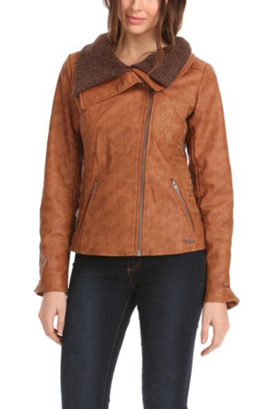 Desigual.Pekín.brown.moto.jacket.$254.FW2014
