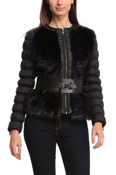 Desigual Yvon with vlue faux-fur front and faux leather belt. Was $229, now $138 (40% off). Available in Sizes 38, 40, 42, 44.