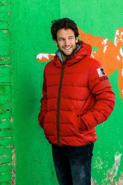 Desigual E Laion orange hoodie jacket.men.FW2014