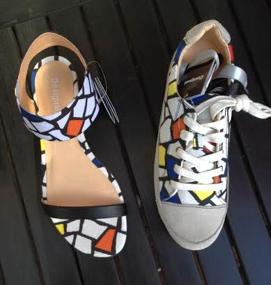 These two shoes capture the coloured ceramic tile work of Barcelona's most famous architect, Antoni Gaudi. GEMMA sandals & JOSE lace-up runners/sneakers.  photo by angelvancouver.com