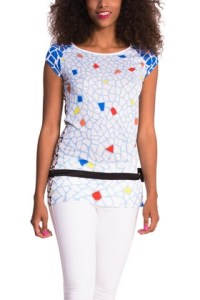 Desigual NATALIE T-shirt. $84. The pattern is inspired by Barcelona's most famous architect, Antoni Gaudí, and his tilework. Spring-Summer 2015 collection.