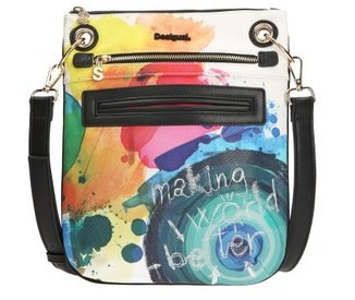 This Desigual BANDOLERA STROKER bag looks hand-painted. Spring-Summer 2016 collection.