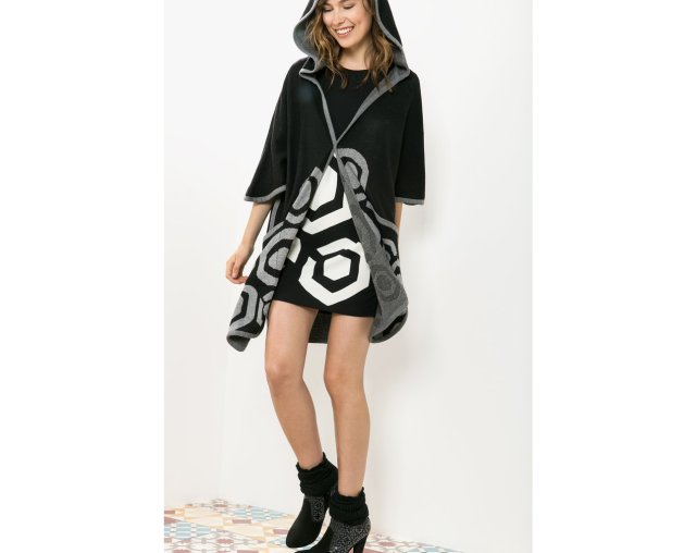 Desigual BERTO CAPE with hood by Christian Lacroix. $235. Fall-Winter 2015.