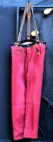 Desigual DEINIRA 5 red denim jeans with suspenders for men. Slim cut. $179. Fall-Winter 2015.