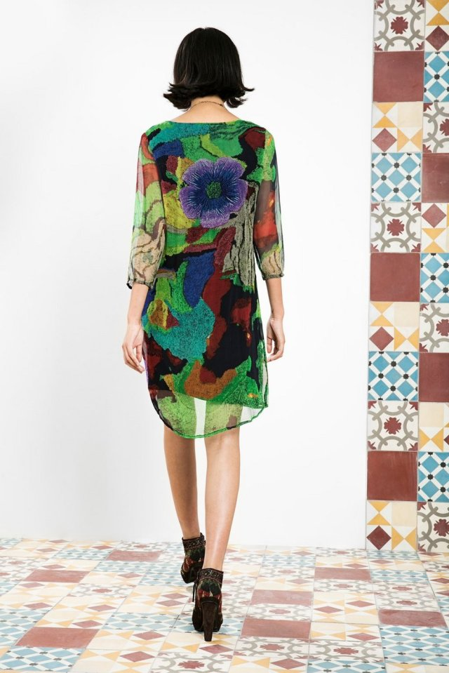 Back of Desigual TEOM sheer dress by Christian Lacroix with beaded neckline. $219.95. Fall-Winter 2015.