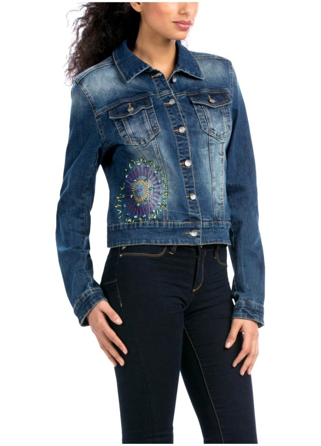 Desigual CHALE BOLUXE bolero-style jean jacket with embroidery. $165.95. Fall-Winter 2015