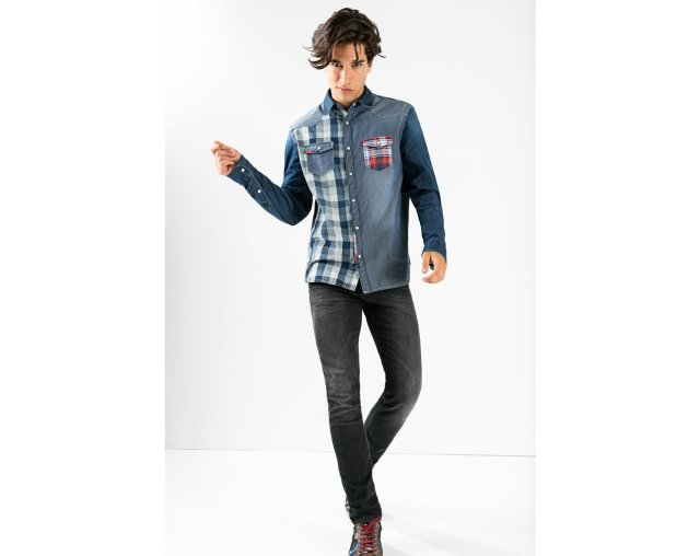 Desigual DANI shirt mixes denim with some cool blue plaids. Casual but smart. $136. Fall-Winter 2015