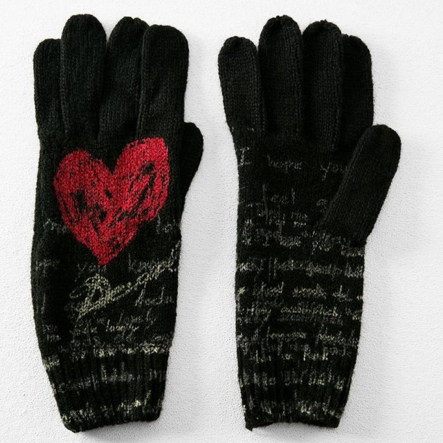Desigual HEART gloves. $49. Match the Heart Scarf and knitted hat