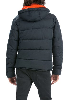 Back of Desigual MIX men's winter jacket with hoodie removable knitted collar. Rain-resistant. $295.95