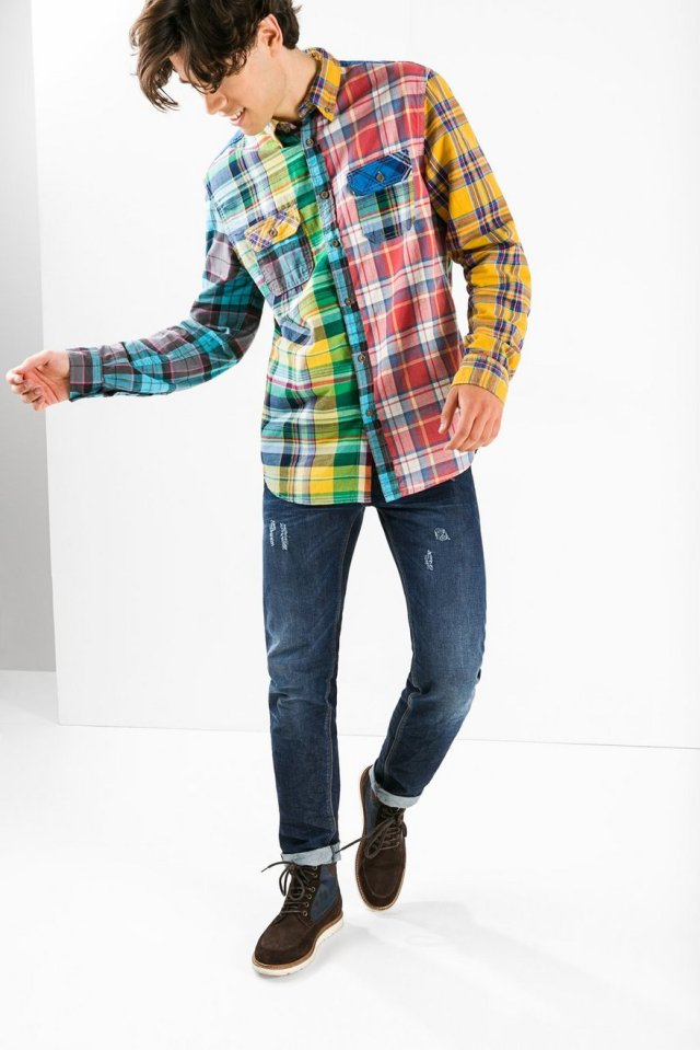 Desigual MIXX flannel shirt for men with bold plaid, $135. Fall-Winter 2015.