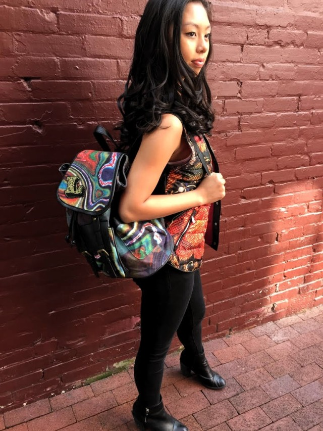 Vancouver model Shaolin wearing Desigual VEST PHANTASIA and backpack by Christian Lacroix. $114.95. Fall-Winter 2015.