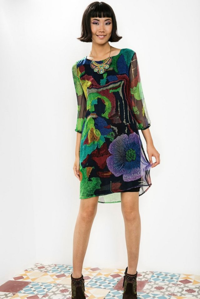 Desigual TEOM sheer dress by Christian Lacroix with beaded neckline. $219.95. Fall-Winter 2015.