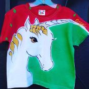 Angel kids unicorn shirt by Justine Brown. photo by angelvancouver.com