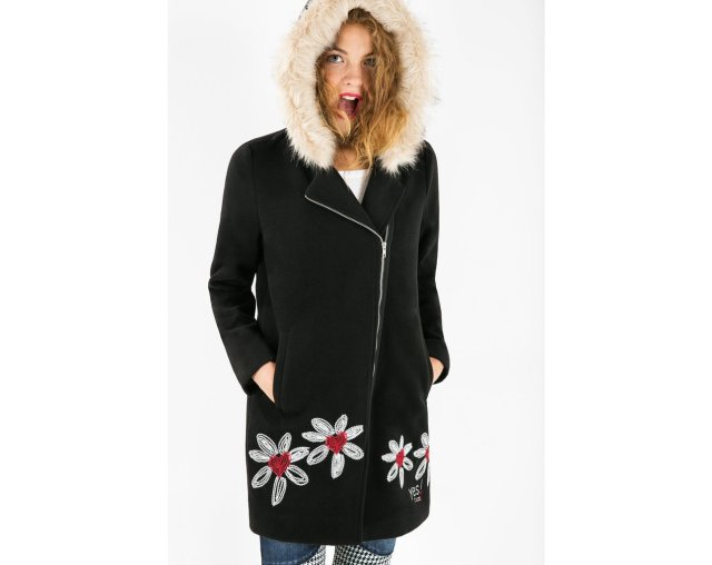Desigual COAT SIX parka with asymetrical zip and faux fur trim around hoodie. $279. We only had three. but sold the size 38. Only Size 36 & 40 left.