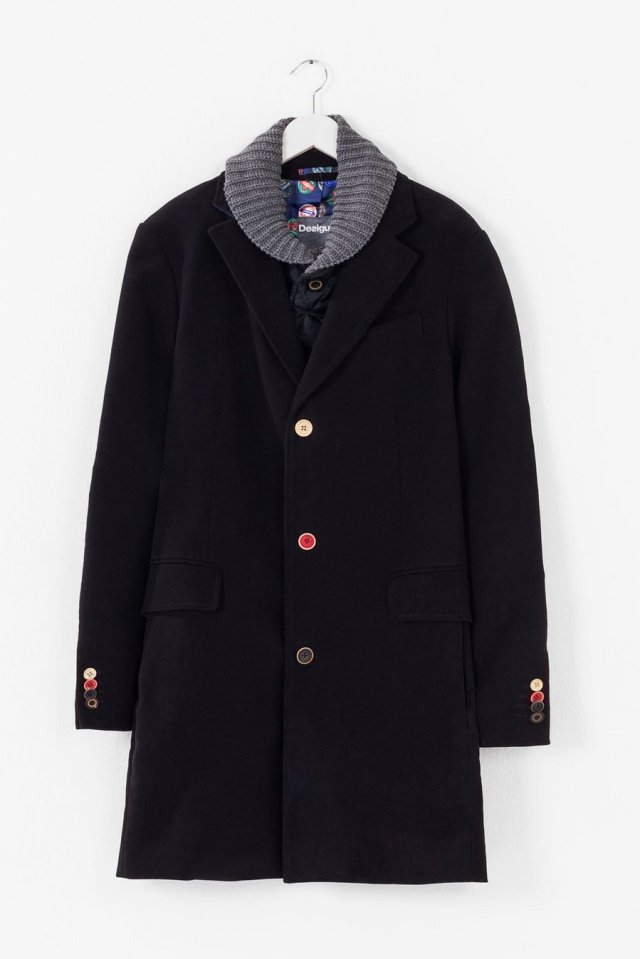 Desigual Winner winter overcoat with different coloured buttons on front and on cuffs. Removable quilted liner and knitted collar. Was $365.95, now on sale for $292.75. Fall-Winter 2015
