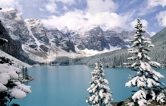 Snow on the Canadian Rockies at Moraine Lake near Banff.