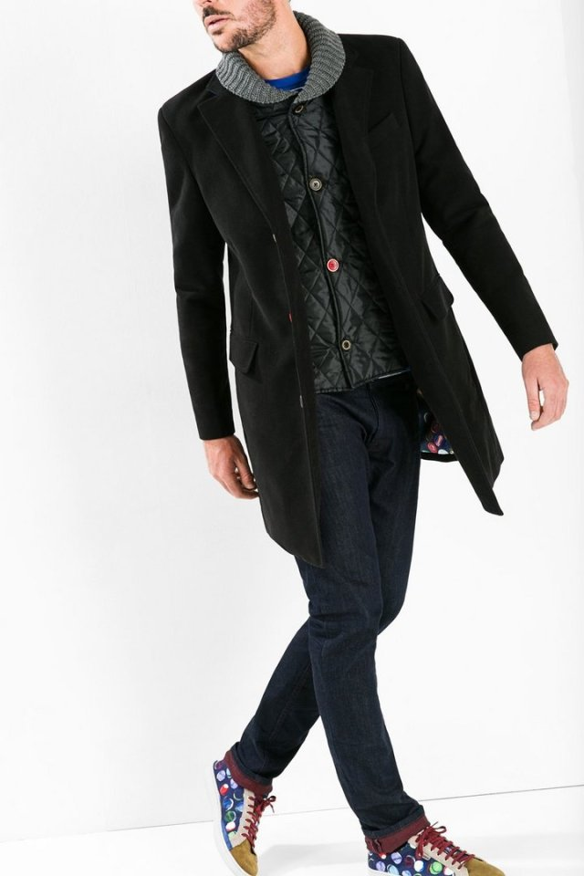 Desigual WINNER overcoat with coloured buttons and removable knitted collar and liner