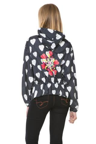 Desigual MYKONOS light raincoat with heart pattern. $155.95.