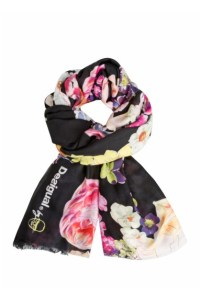 Desigual Foulard Black Flower Soft scarf designed by Christian Lacroix. $65.95.SS2016