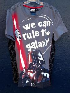 Desigual TOMAS Star Wars T-shirt with glow-in-the-dark lettering that says We Can Rule the Galaxy. $59.95. Sizes 5 to 13.