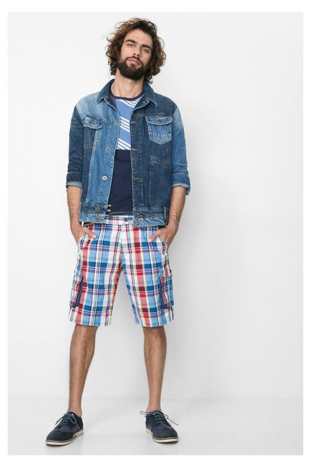 Desigual CUARDROS shorts and LOOK jean jacket. We havDesigual CUARDROS shorts and LOOK jean jacket. We have both in stock at Angel.e both in stock at Angel.