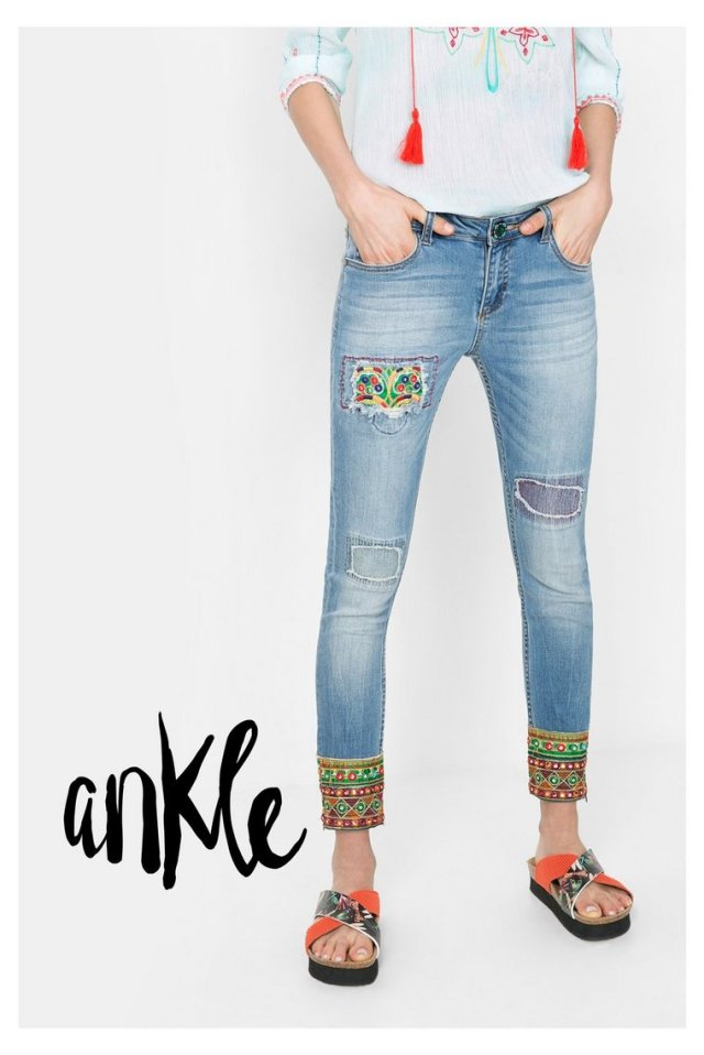 Desigual ETHNIC ANKLE jeans. $159.95. Spring-Summer 2016.