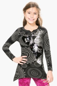Desigual QUEBEC tunic T-shirt with reversible sequins for girls. $69.95.