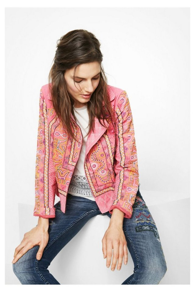 Desigual FLORENCIA pink denim jacket with extensive embroidery front and back