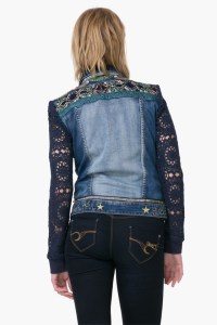 Desigual EXOTIC Blue denim jacket has lace sleeves and embroidery on the back. Was $205.95. Now 20% off. Summer 2017 collection.