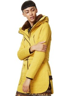 Desigual CALIFORNIA coat. Mellow yellow, zip pockets and removable faux fur collar lining. Unzip the bottom part of the coat and it transforms into a bomber-style jacket. $425.95.Fall-Winter 2017.
