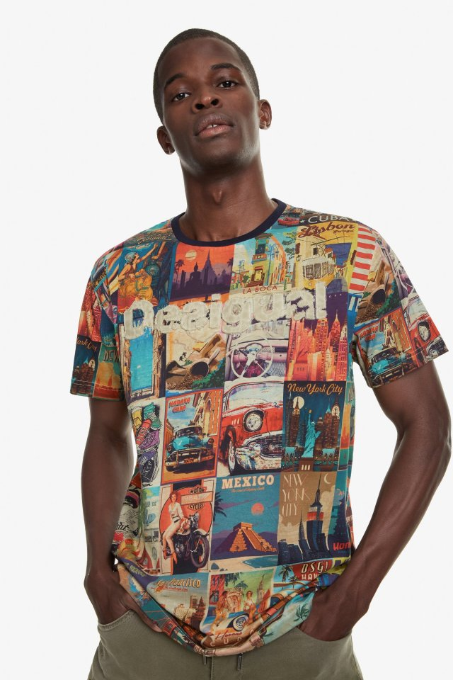 Desigual ERENESTO postcard T-shirt. $105.95. SS2019.