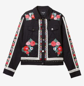 Desigual ARENTO Mexican motifs embroidered jacket on sale, Vancouver Canada