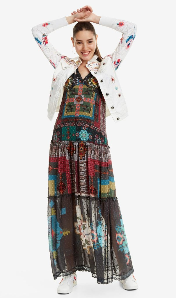 Desigual CARRIE white denim jacket with knit sleeves Fall-Winter 2019 collection