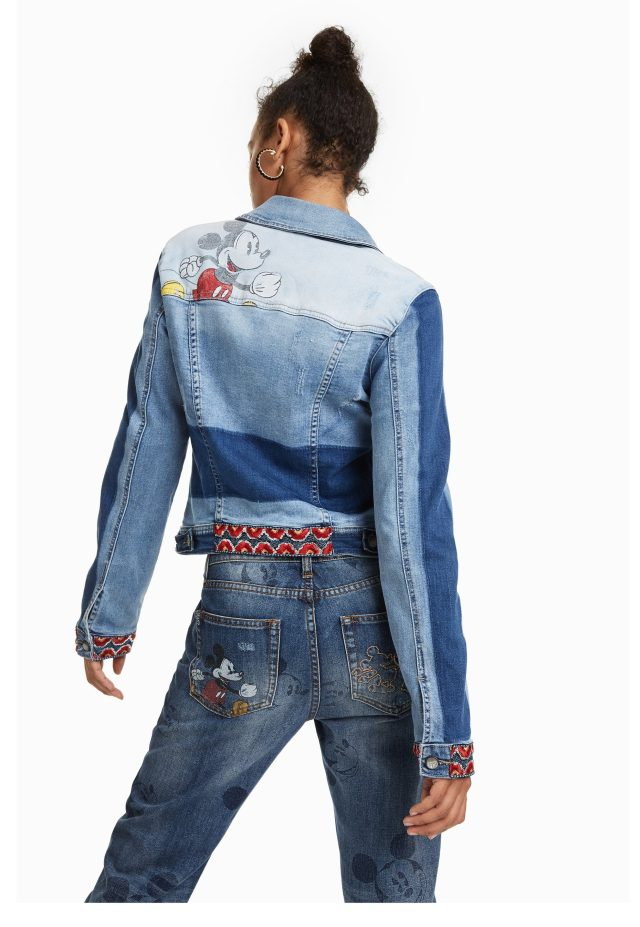 Desigual MARGUERITE Mickey Mouse denim jacket on sale.