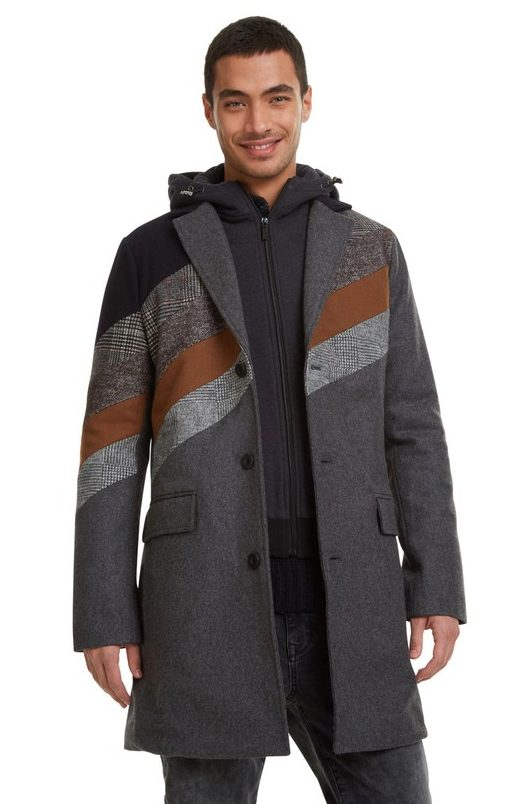 Desigual ATILA men'sovercoat with zip-out hoodie. $425.95. FW2019