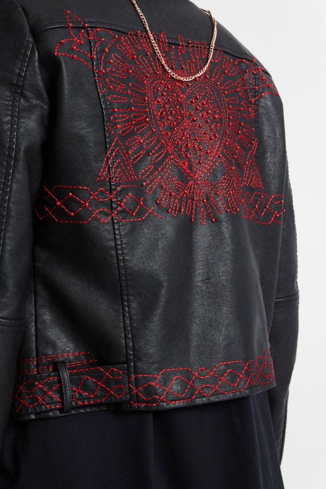 Desigual BEATING HEART black moto jacket with embroidered heart and beads FW2019